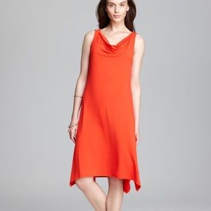 Eileen Fisher Orange Cowl Neck Flowy Dress